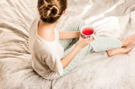 bed bedroom drink girl